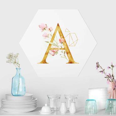 Hexagon-Forexbild - Wunschbuchstabe Gold