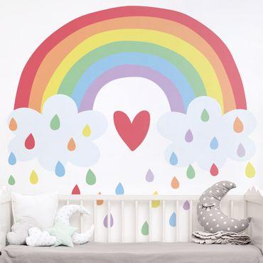 Wandtattoo mehrfarbig Kinderzimmer - XXL Regenbogen Herz Bunt