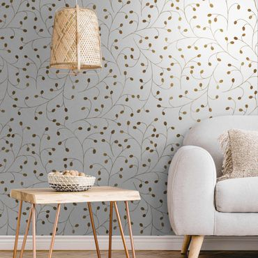 Metallic Tapete  - Zarte Zweige Muster mit Punkten in Gold