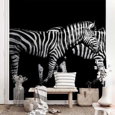 Metallic Tapete  - Zebra vor Schwarz