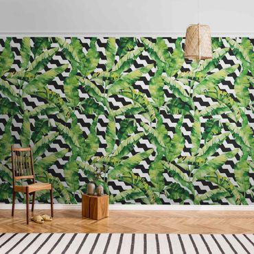 Metallic Tapete  - Zick Zack Geometrie Dschungel Muster