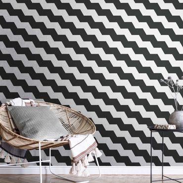 Metallic Tapete  - Zick Zack Geometrie Muster Schwarz-Weiß