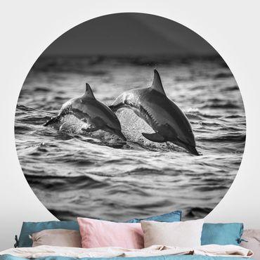 Runde Tapete selbstklebend - Zwei springende Delfine