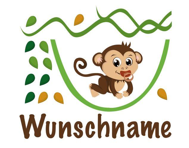 Affen Wandtattoo - Wandtattoo + Namen No.YK29 Wunschtext Affenbaby