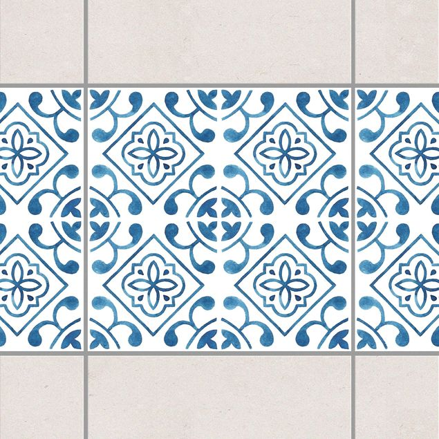 Fliesen Bordüre - Blau Weiß Muster Serie No.2 1:1 Quadrat 15cm x 15cm - Fliesenaufkleber
