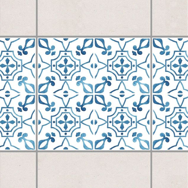 Fliesen Bordüre - Blau Weiß Muster Serie No.9 1:1 Quadrat 15cm x 15cm - Fliesenaufkleber