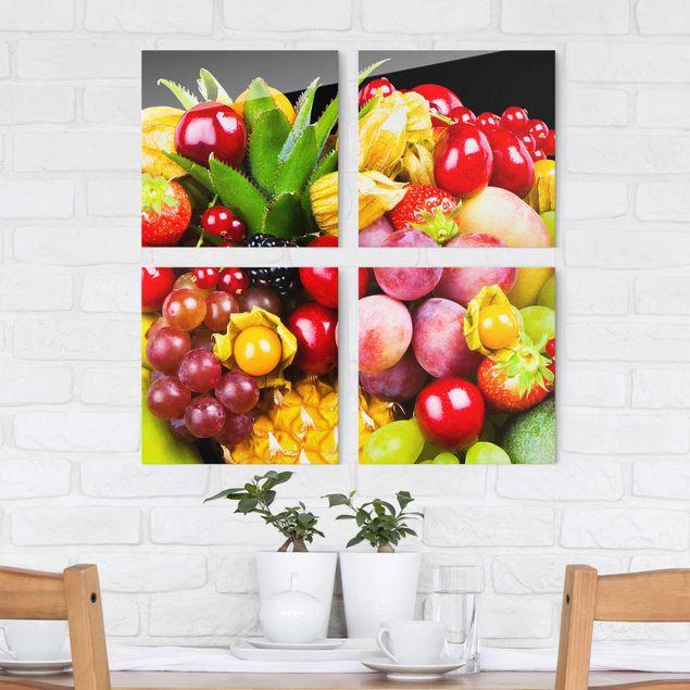Glasbild mehrteilig - Fruit Bokeh 4-teilig