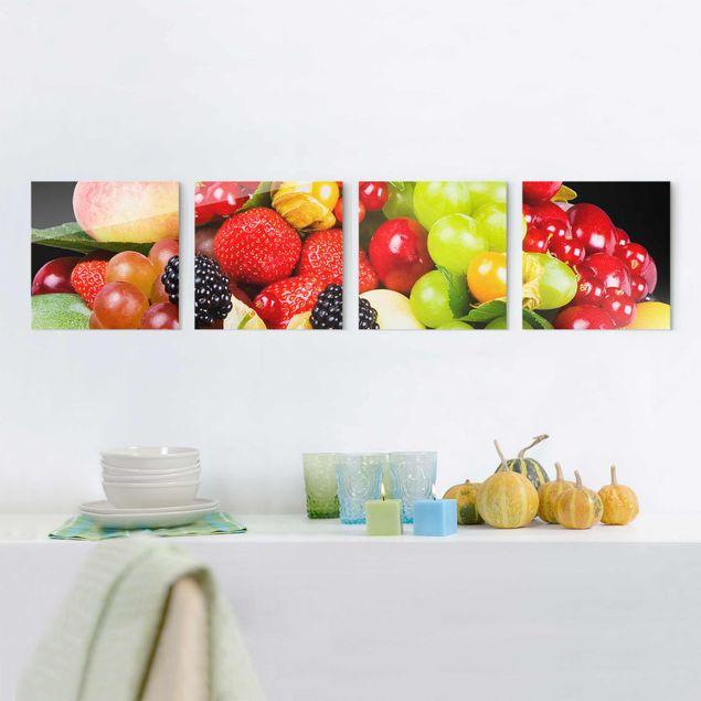 Glasbild mehrteilig - Obst Mix 4-teilig