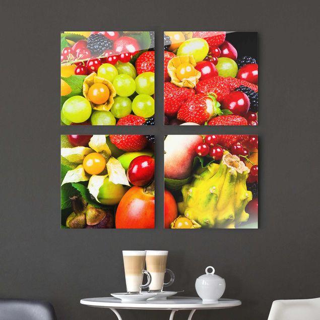 Glasbild mehrteilig - Tropical Fruits 4-teilig