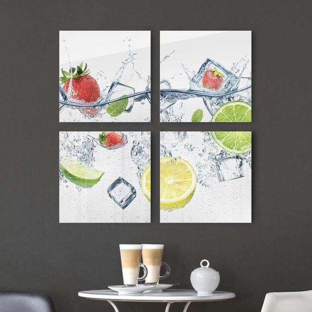 Glasbild mehrteilig - Frucht Cocktail 4-teilig