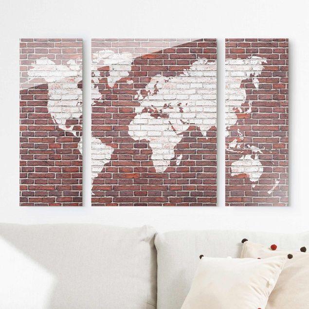 Glasbild mehrteilig - Backstein Weltkarte 3-teilig