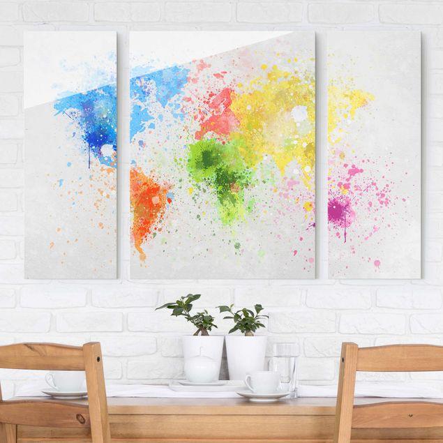 Glasbild mehrteilig - Bunte Farbspritzer Weltkarte 3-teilig
