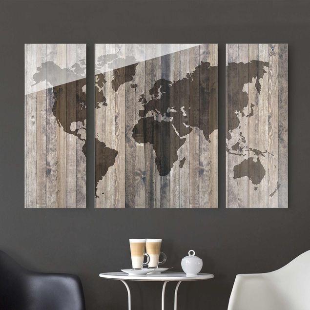 Glasbild mehrteilig - Holz Weltkarte 3-teilig