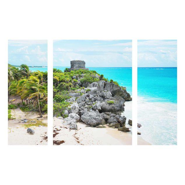 Glasbild mehrteilig - Karibikküste Tulum Ruinen 3-teilig