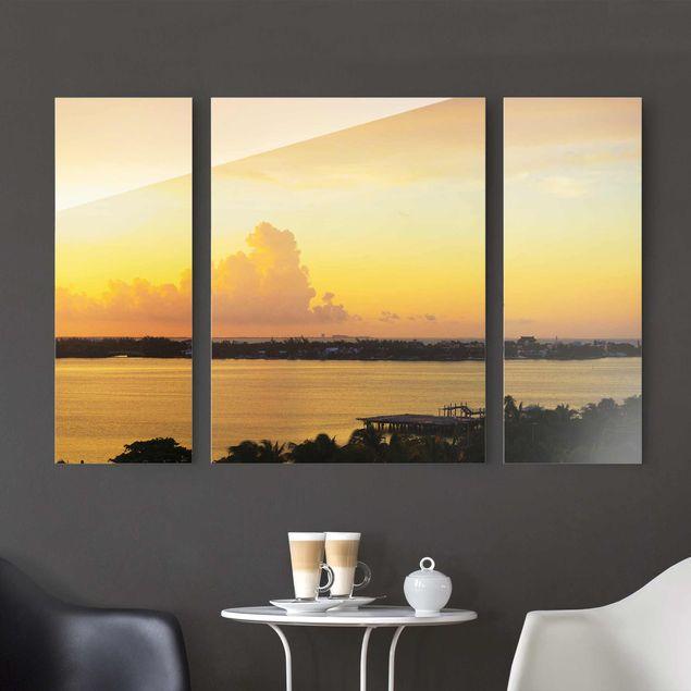 Glasbild Mexiko Sonnenuntergang - mehrteilig - 3-teilig