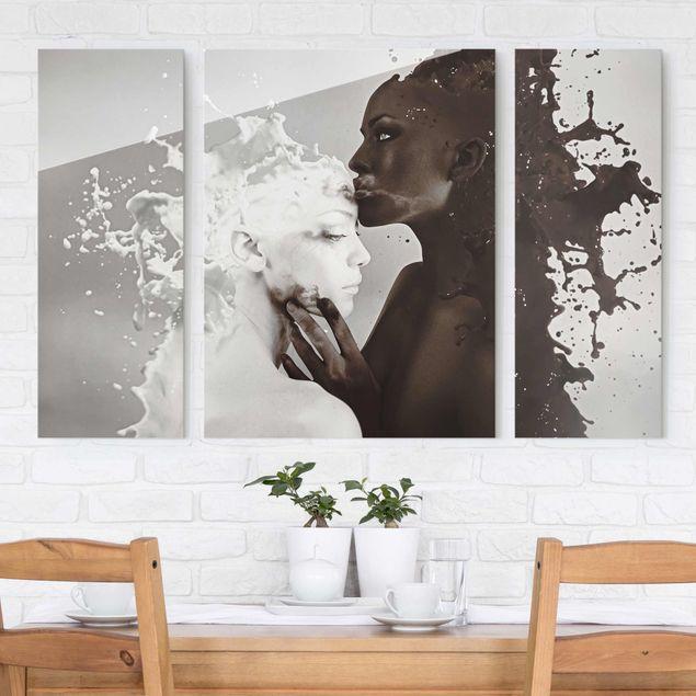 Glasbild mehrteilig - Milch & Kaffee Kuss 3-teilig