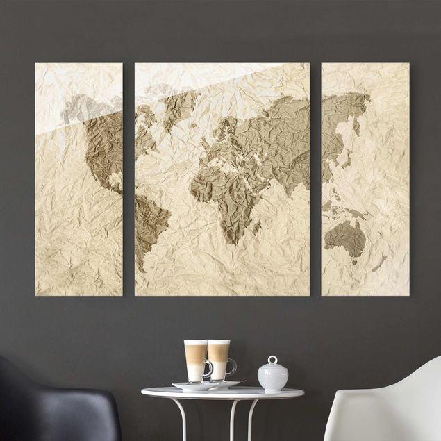 Glasbild mehrteilig - Papier Weltkarte Beige Braun 3-teilig