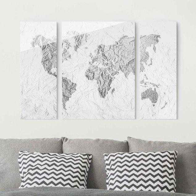 Glasbild mehrteilig - Papier Weltkarte Weiß Grau 3-teilig