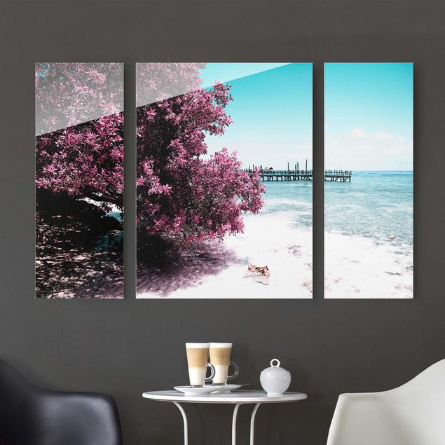 Glasbild mehrteilig - Paradies Strand Isla Mujeres 3-teilig