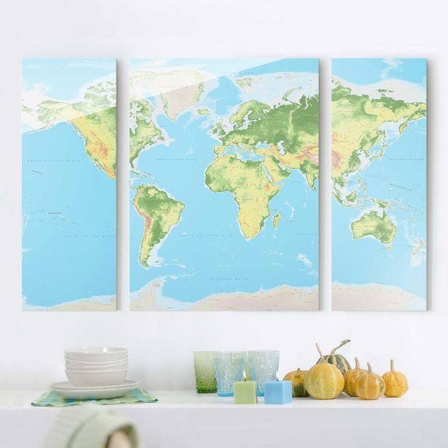Glasbild mehrteilig - Physische Weltkarte 3-teilig