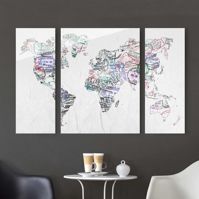 Glasbild mehrteilig - Reisepass Stempel Weltkarte 3-teilig
