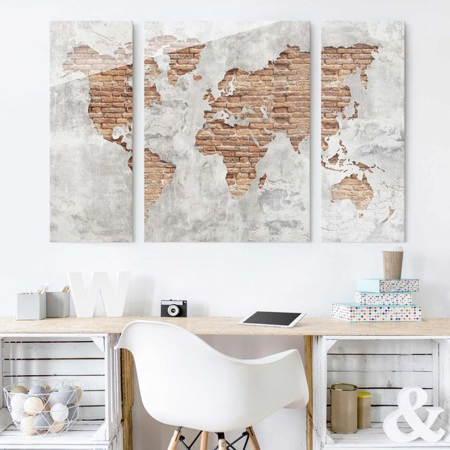 Glasbild mehrteilig - Shabby Beton Backstein Weltkarte 3-teilig