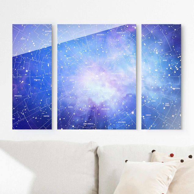 Glasbild mehrteilig - Sternbild Himmelkarte 3-teilig