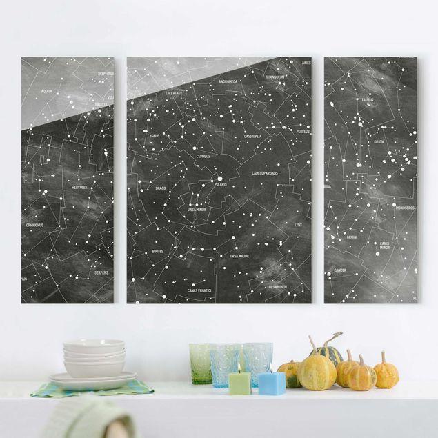 Glasbild mehrteilig - Sternbild Karte Tafeloptik 3-teilig