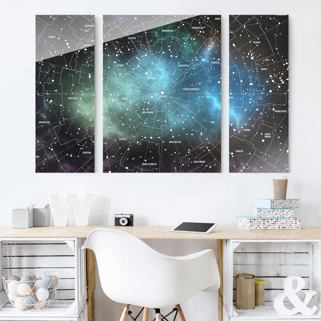 Glasbild mehrteilig - Sternbilder Karte Galaxienebel 3-teilig