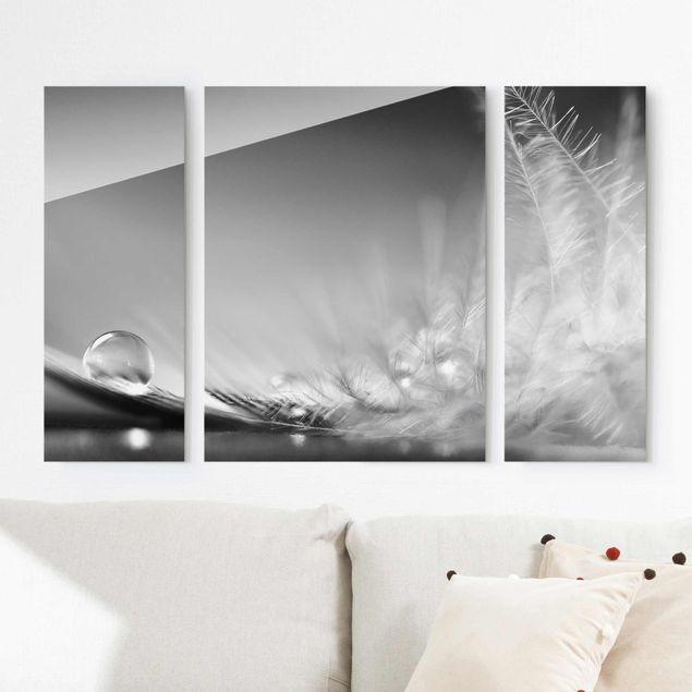 Glasbild mehrteilig - Story of a Waterdrop Black White 3-teilig