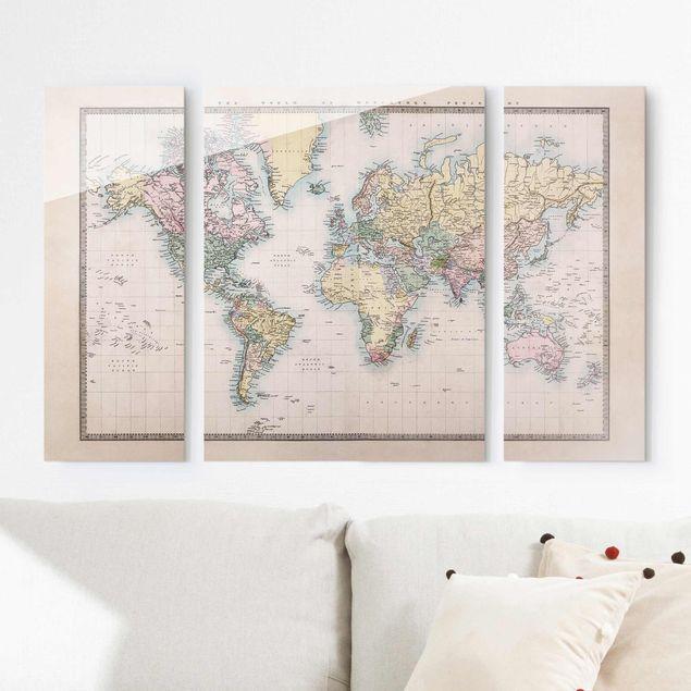 Glasbild mehrteilig - Vintage Weltkarte um 1850 3-teilig