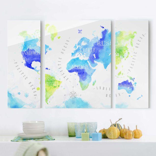 Glasbild mehrteilig - Weltkarte Aquarell blau grün 3-teilig