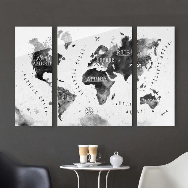 Glasbild mehrteilig - Weltkarte Aquarell schwarz 3-teilig