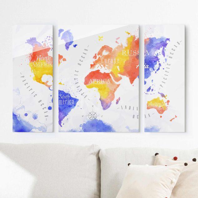 Glasbild mehrteilig - Weltkarte Aquarell violett rot gelb 3-teilig