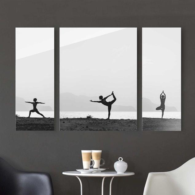 Glasbild mehrteilig - Yoga Trio 3-teilig