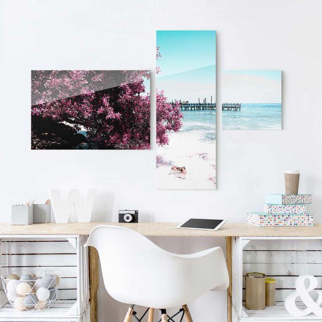 Glasbild mehrteilig - Paradies Strand Isla Mujeres Collage 3-teilig