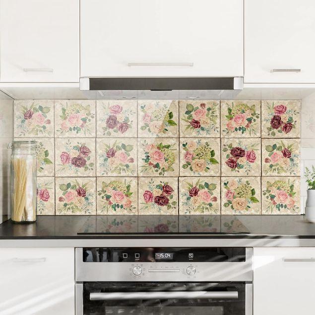 Spritzschutz Glas - Vintage Rosen und Hortensien - Panorama Quer