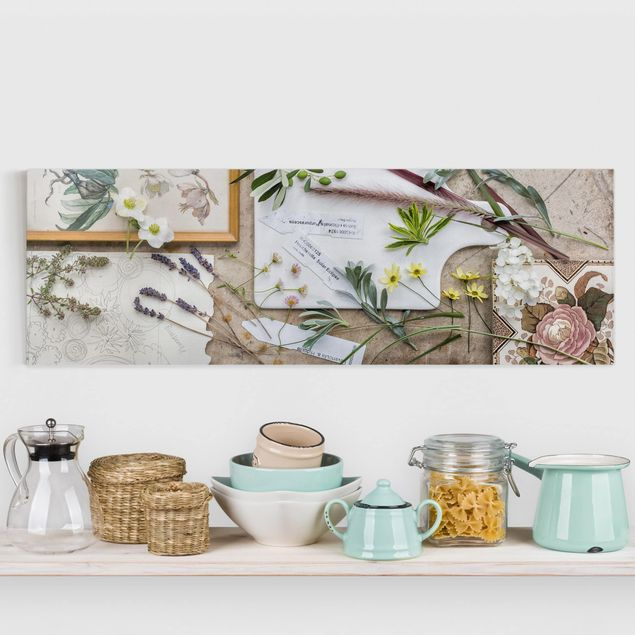Leinwandbild - Blumen und Gartenkräuter Vintage - Panorama Quer