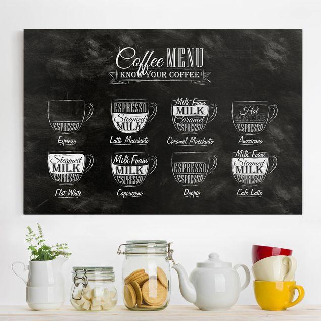 Leinwandbild - Kaffeesorten Kreidetafel - Quer 3:2