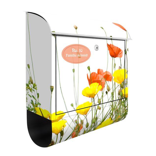 Briefkasten mit Zeitungsfach - Wunschtext Wild Flowers