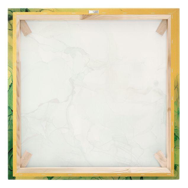 Leinwandbild Gold - Smaragdfarbener Sturm - Quadrat 1:1