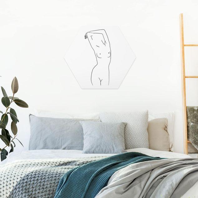 Hexagon Bild Forex - Line Art Frauenakt Schwarz Weiß