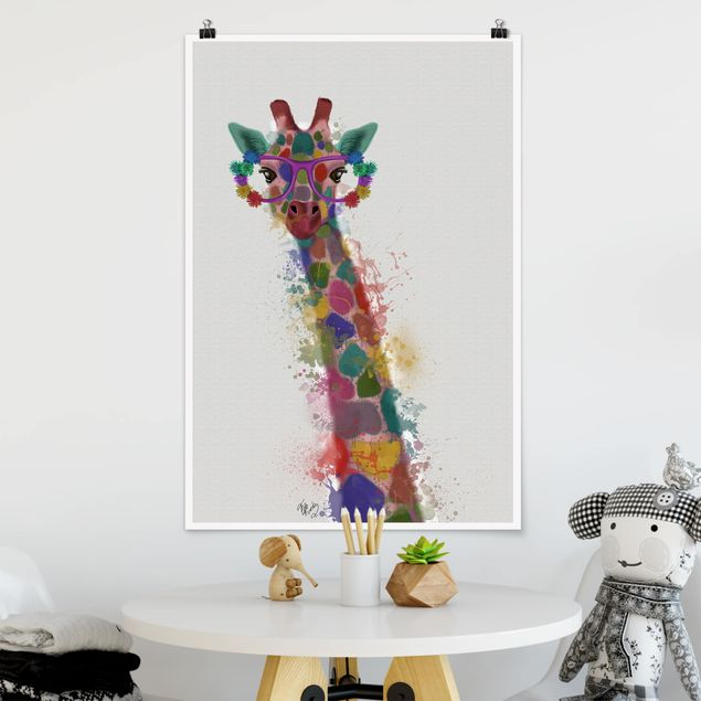Poster - Regenbogen Splash Giraffe - Hochformat 3:2