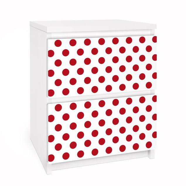 Möbelfolie für IKEA Malm Kommode - Selbstklebefolie No.DS92 Punktdesign Girly Weiß