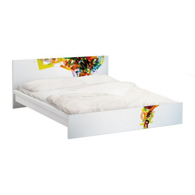 Möbelfolie für IKEA Malm Bett niedrig 140x200cm - Klebefolie Rainbow Alphabet