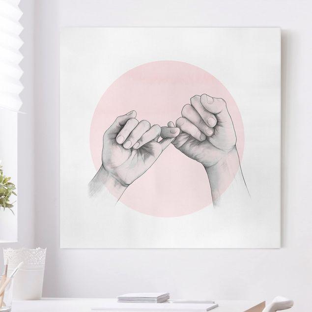 Leinwandbild - Illustration Hände Freundschaft Kreis Rosa Weiß - Quadrat 1:1