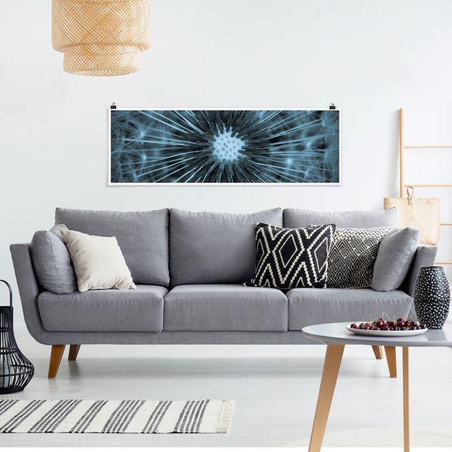 Poster - Blau getönte Pusteblume - Panorama Querformat