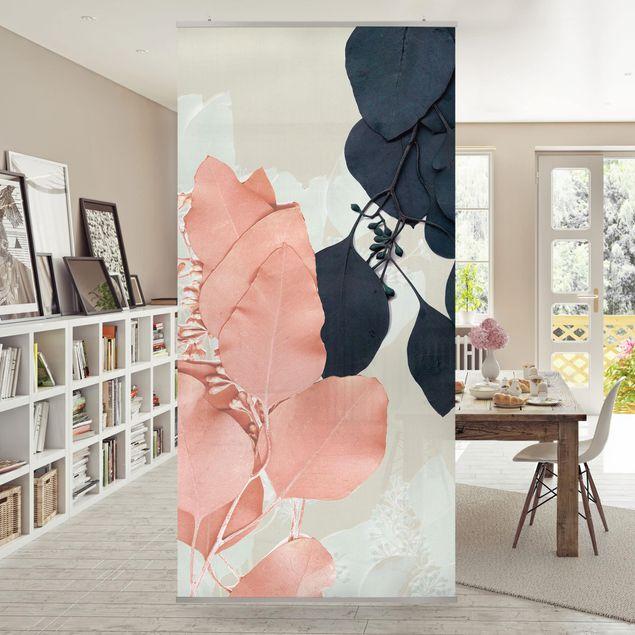 Raumteiler - Blätter Indigo & Rouge II - 250x120cm