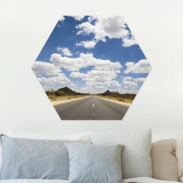 Hexagon Bild Alu-Dibond - Route 66