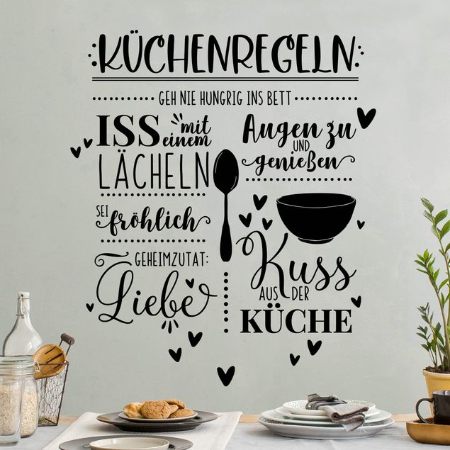 Wandtattoo - Küchenregeln mit Liebe